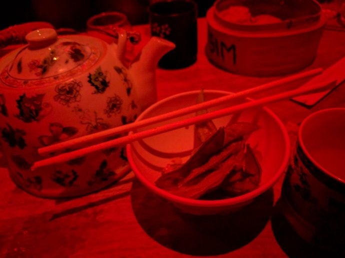 Teapots, edamame, and dumpling steamers